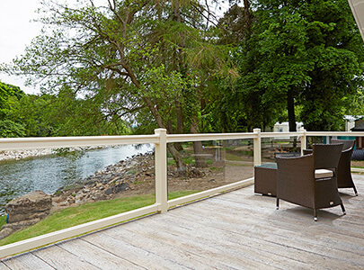 AB Sundecks Picket Glass on decking overlooking the river