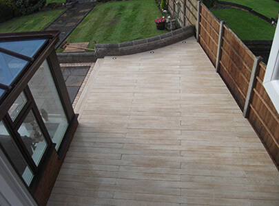 AB Sundecks Decking on side of the house with built in lighting